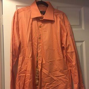 Men's orange button down shirt